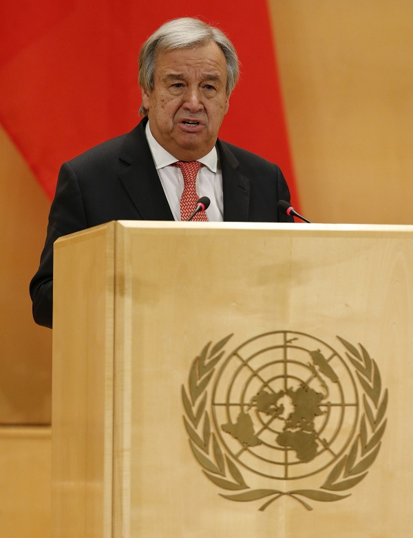 U.N. Secretary general Antonio Guterres delivers a speech during a high-level event in the Assembly Hall at the United Nations European headquarters in Geneva, Switzerland, January 18, 2017. REUTERS/Denis Balibouse - RTSW44G