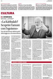 Intervista prof. Laitman Corriere del Ticino