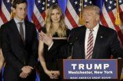 Donald Trump parla mentre suo genero Jared Kushner e sua figlia Ivanka ascoltano .. (photo credit: REUTERS)