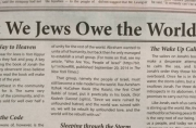 "Feedback on the New York Times article, ""What We Jews Owe the World"""